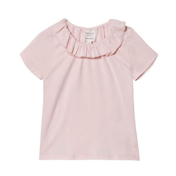 T-Shirt mit Rüschenkragen rosa