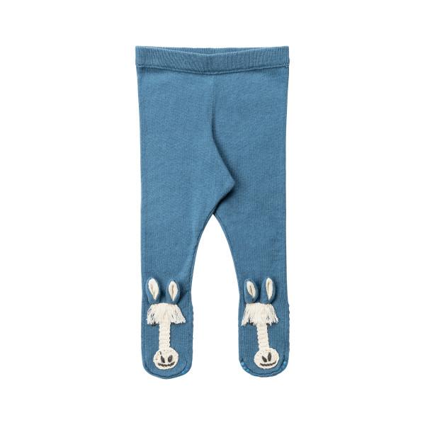 Baby Leggings blau aus Wolle mit Pferdemotiv