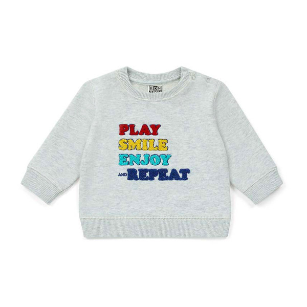 Sweatshirt Stick Play Smile Enjoy and Repeat hellgrau