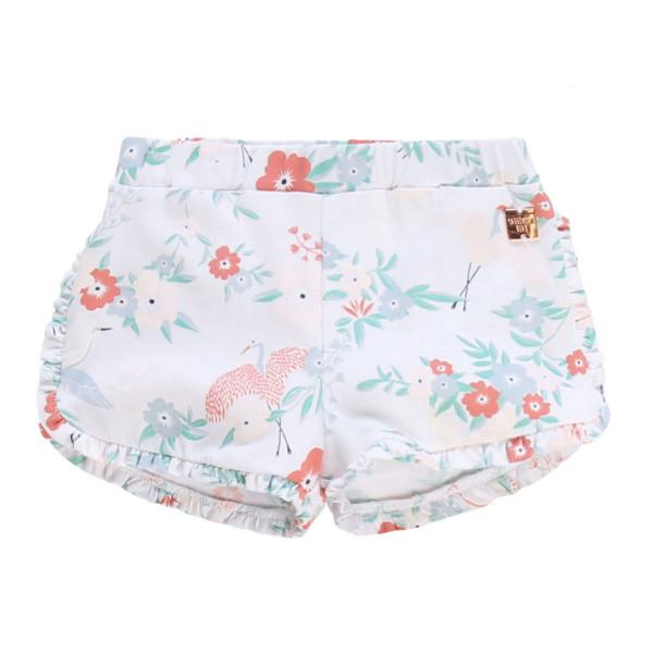 Baby Shorts weiß mit Blumenmuster