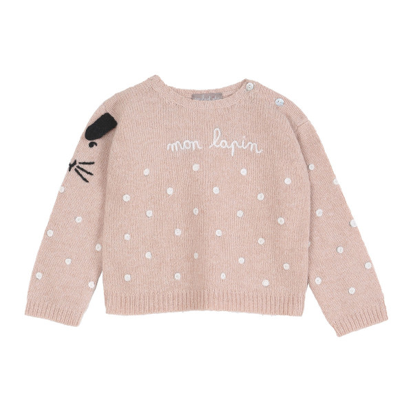 Pullover Merinowolle Hase rosa