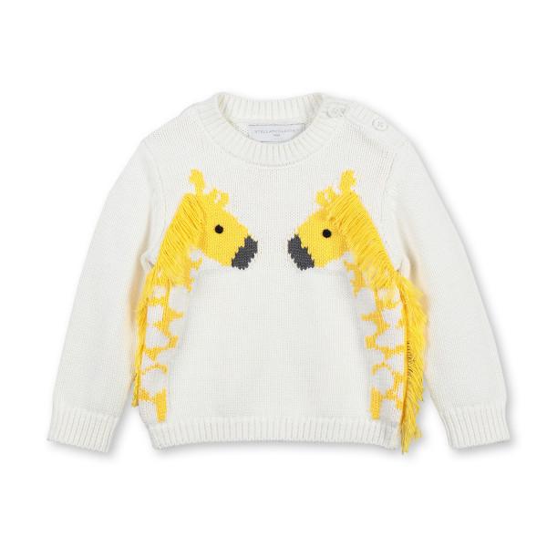 Baby Pullover Intarsia Giraffe gelb