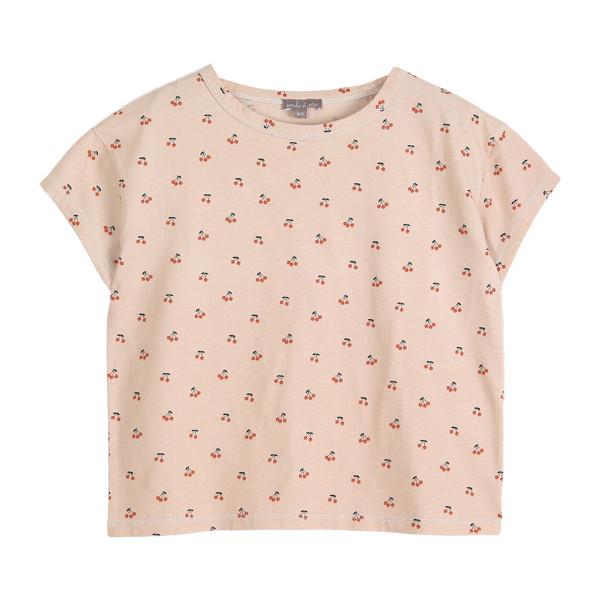 T-Shirt beige mit Kirschen