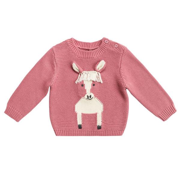 Baby Pullover aus Wolle mit Pferdemotiv