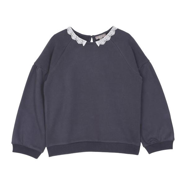 Sweatshirt mit Spitzenkragen Anthrazit