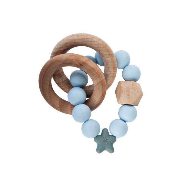 Beißring aus Holz und Silikon hellblau