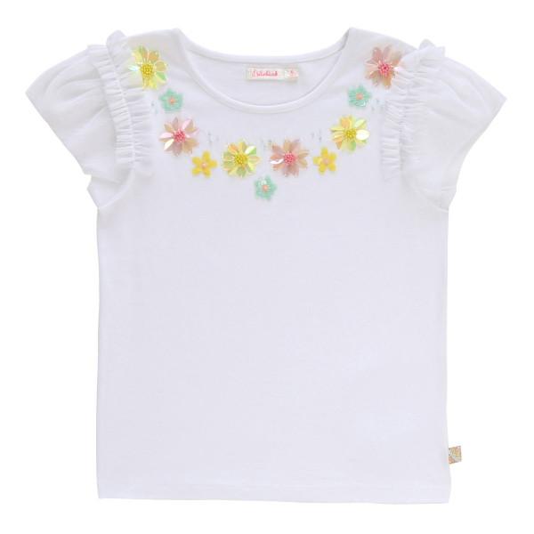 T-Shirt Pailletten Blumen weiß