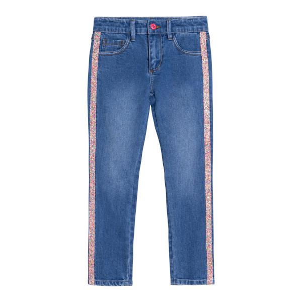 Jeans Skinny-Fit Denim mit Glitzerstreifen