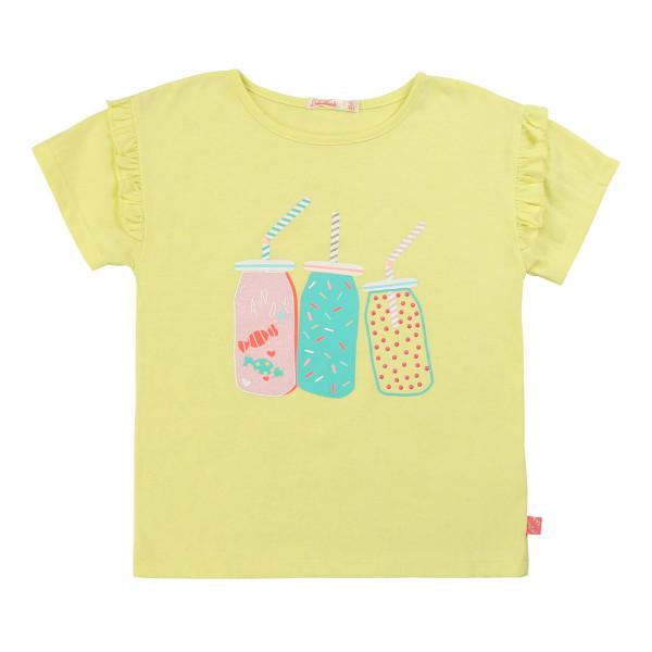 T-Shirt Rüschenarmel Motiv gelb