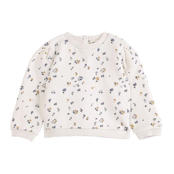 Sweatshirt mit Blümchendruck ecru