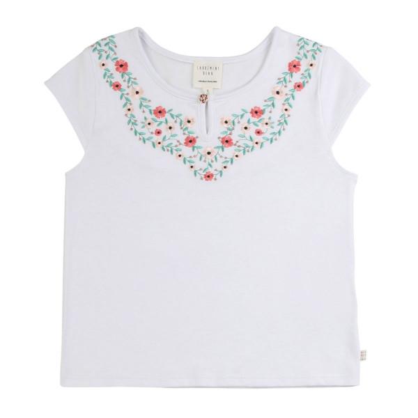 T-Shirt weiß mit Blumenstickerei