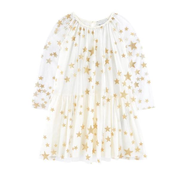 Kleid weiß mit goldenen Sternen