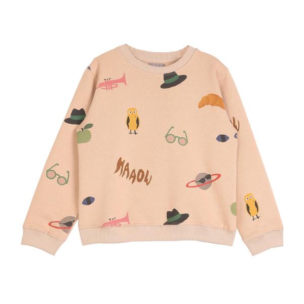 Sweatshirt Allover Print Sandfarben