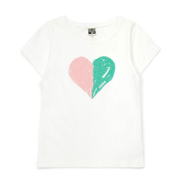 T-Shirt weiß Glitzerherz
