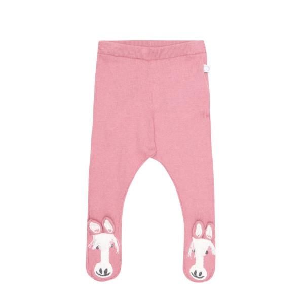 Baby Leggings rosa aus Wolle mit Pferdemotiv